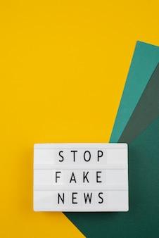 Stoppen sie das fehlinformationskonzept mit copy-space