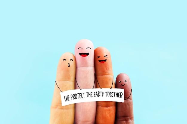 Stoppen sie das rassismus-symbol. um die erde zusammen zu schützen