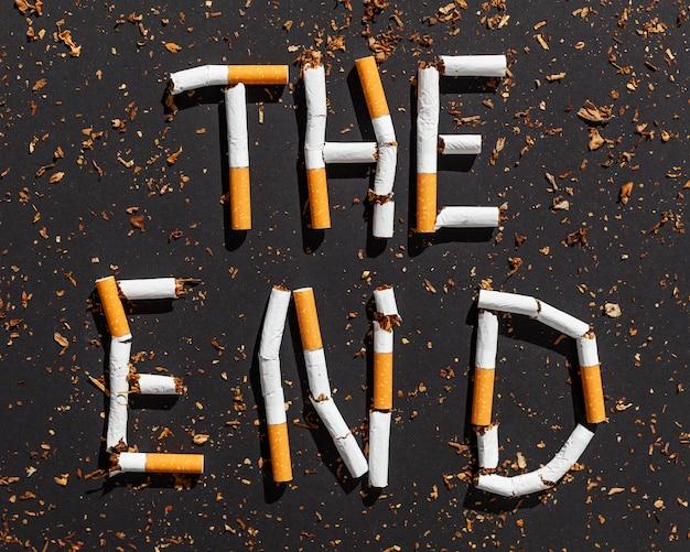 Stoppen sie die nachricht von zigaretten
