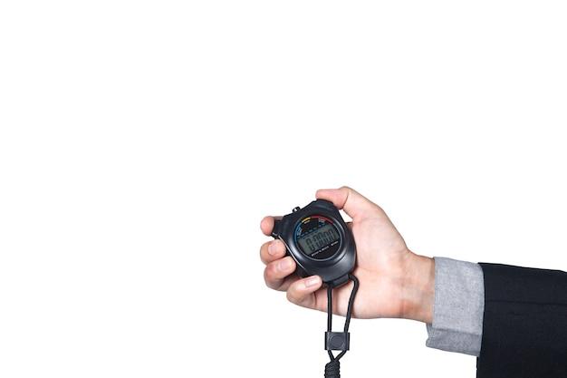 Stoppuhr auf der hand des geschäftsmannes isoliert auf weißem hintergrund mit platz für kopie.