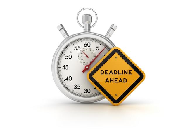 Stoppuhr mit deadline ahead road sign