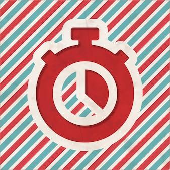 Stoppuhr-symbol auf rotem und blau gestreiftem hintergrund. weinlesekonzept im flachen design.