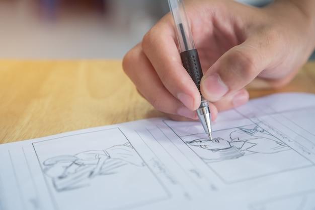 Storyboard- oder storytelling-zeichnungsmotiv für das drehbuch des filmvorbereitungsmediums