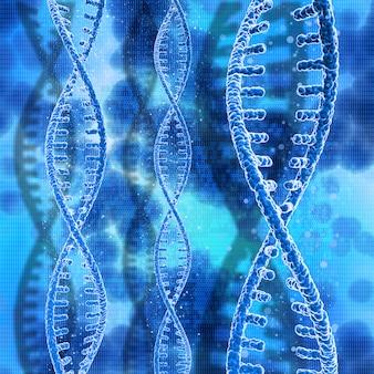 Stränge der dna 3d auf einem hintergrund des binären codes