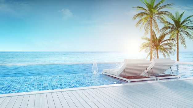 Strand-lounge, liegestühle auf der sonnenterrasse und privater pool mit panoramablick auf das meer bei luxus-villa / 3d-rendering