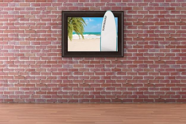 Strand mit palmen- und surfbrett-poster-bilderrahmen, der an der roten backsteinmauer-hintergrund extreme nahaufnahme hängt. 3d-rendering