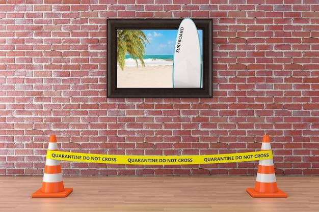 Strand mit palmen- und surfbrett-poster-bilderrahmen, quarantäne-gelbband überqueren sie die polizeilinie nicht mit straßenkegeln im museum auf einem roten backsteinmauerhintergrund. 3d-rendering