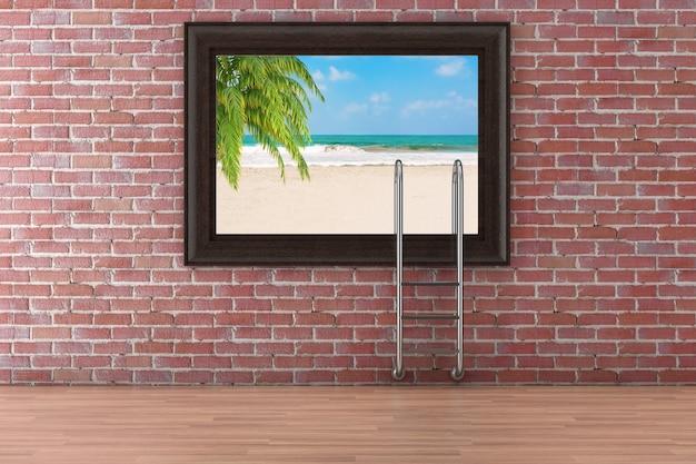 Strand mit palmen- und swimmingpool-leiter-poster-bilderrahmen, der an der roten backsteinmauer-hintergrund extreme nahaufnahme hängt. 3d-rendering