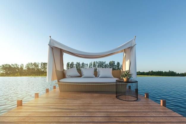 Strand sofa auf holzterrasse in der nähe von meer