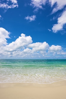 Strand und tropisches meer unter strahlend blauem himmel am sommertag