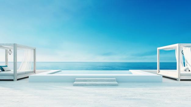 Strandaufenthaltsraum - ozeanlandhausküsten- u. -seeansicht für ferien und summer / 3d übertragen im freien