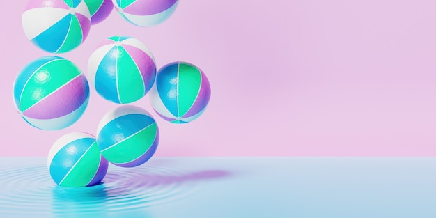 Strandbälle fallen auf blaue flüssigkeit mit rosa retro-pastellhintergrund
