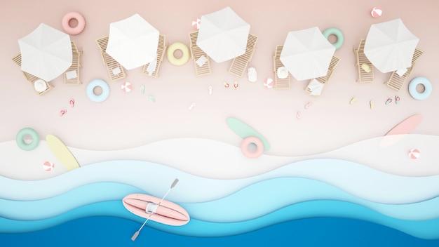 Strandbett und wasserspielgeräte am strand