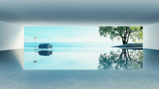 Strandleben - ozeanlandhausküsten- u. -seeansicht für ferien und summer / 3d wiedergabe