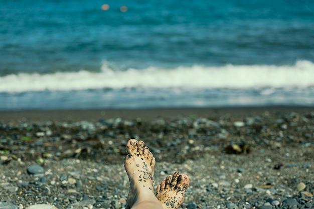 Strandliege, liege sithonia, meer, sandstrand, sonnenbaden.