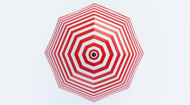 Strandschirm rot und weiß isoliert auf weißem hintergrund. ansicht von oben. 3d-rendering