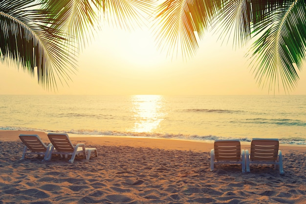 Strandstühle mit kokosnuss verlässt am tropischen strand bei sonnenuntergang. sommer-reisekonzept.