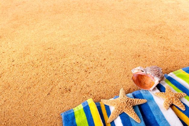 Strandtuch mit seesternen und muscheln