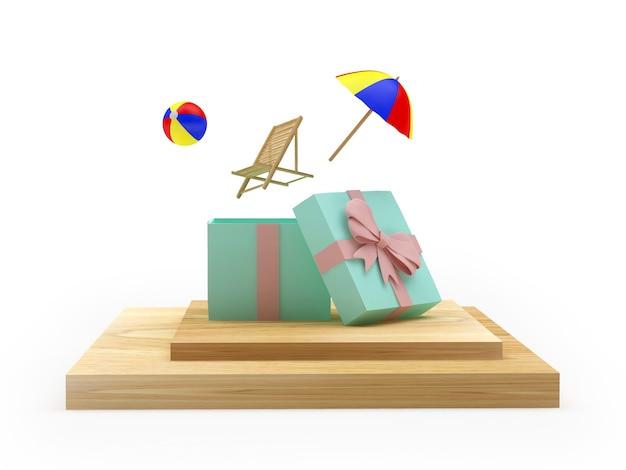 Strandurlaubsartikel fliegen aus einer geschenkbox auf einem ständer