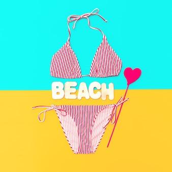 Strandzeit. stilvoller badeanzug für lady