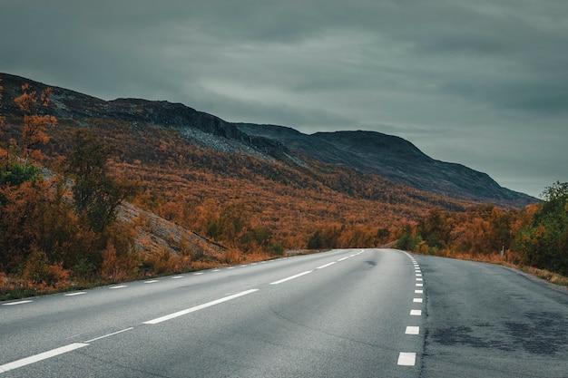 Straße an einem see tornetrask im nationalpark abisko in schweden im goldenen herbst