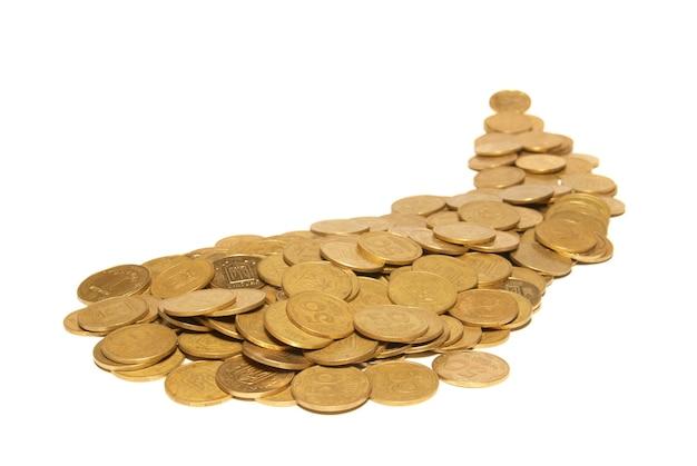 Straße der goldenen münzen isoliert