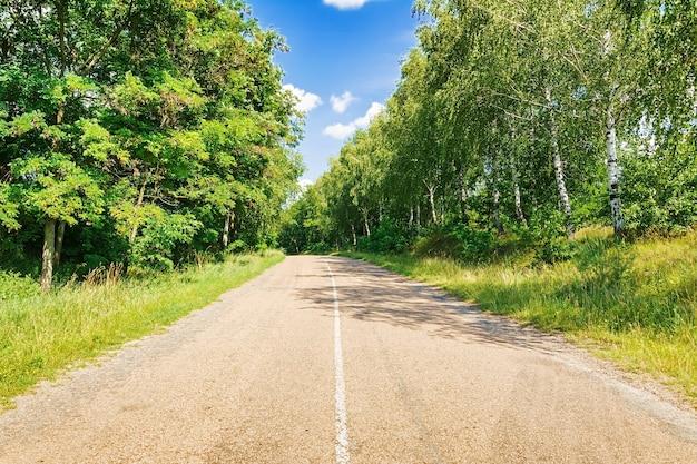 Straße gegen den blauen himmel. schöne landschaft.