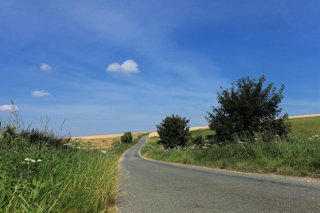 Straße im land im sommer unter der sonne