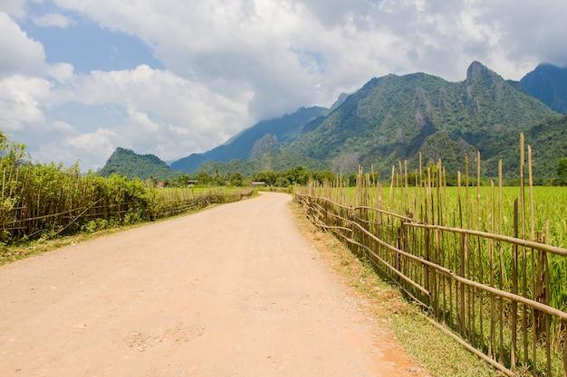 Straße und häuschen und grünes terassenförmig angelegtes reisfeld in vang vieng laos