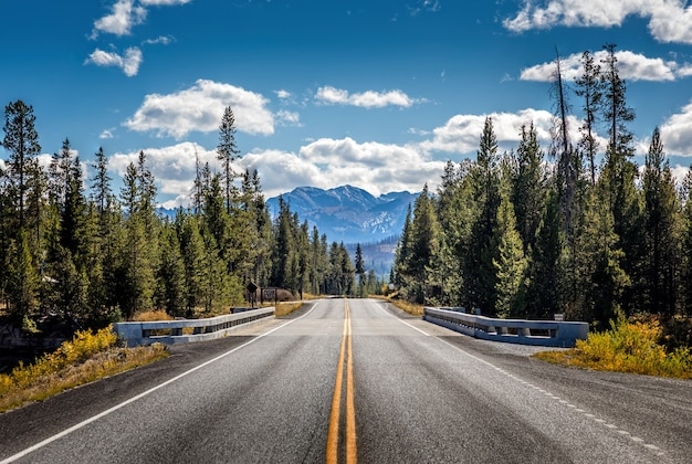 Straße vom yellowstone-nationalpark zum grand teton-nationalpark, wyoming, usa