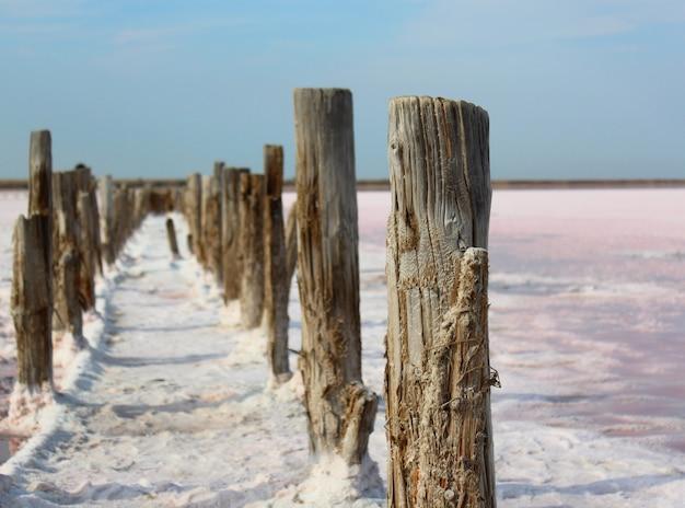 Straße von den hölzernen pfosten auf rosa salzsee