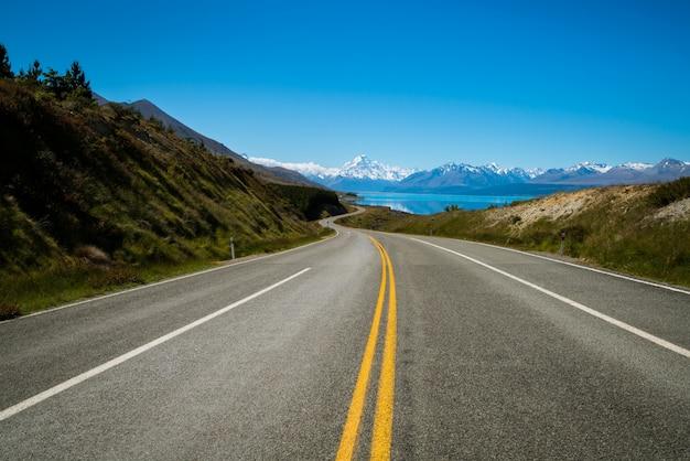 Straße zum mount cook, neuseeland