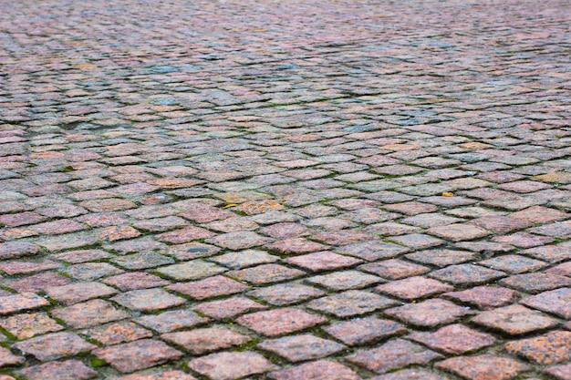 Straßenabdeckung aus granit. bauraum. nahansicht