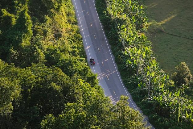 Straßenansicht von oben genanntem mit baum im landschaftsasiat - vogelperspektive über der gebirgsstraße, die waldlandschaft und landwirtschaftliche nutzfläche durchläuft