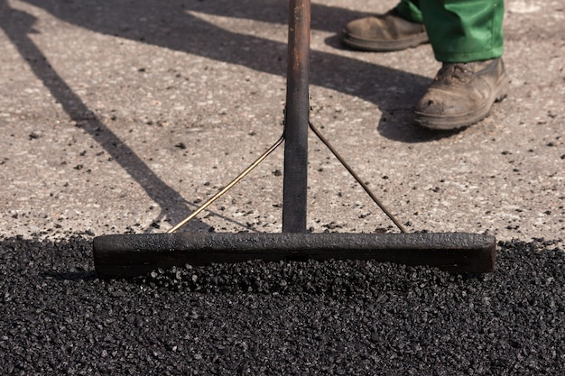 Straßenreparatur, asphalt hautnah