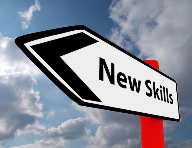 Straßenschild für neue fähigkeiten