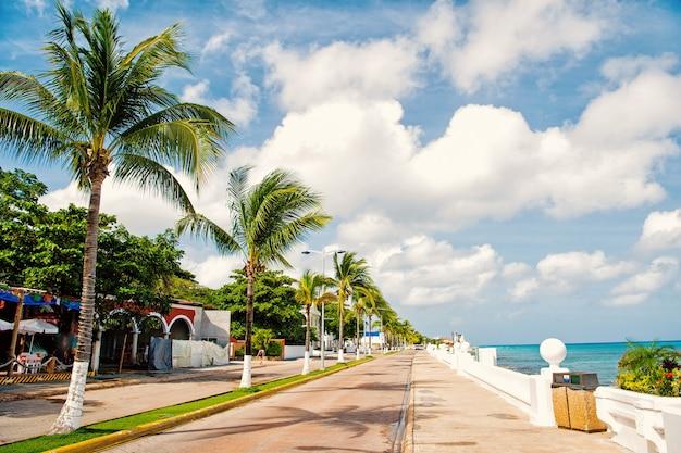 Straßenstraße oder autospur mit promenade oder uferpromenade in der nähe von wasser, grüne palmen sonnig im sommer im freien cozumel, mexiko auf bewölktem hintergrund des blauen himmels. reisen und urlaub