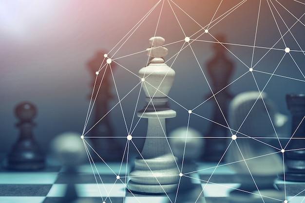 Strategie-wettbewerbsideen-konzept mit schachbrettspiel-vintage-farbton