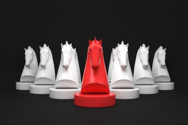 Strategiekonzept des pferdeschachbrettspiels auf schwarzem farbhintergrund. 3d-rendering.