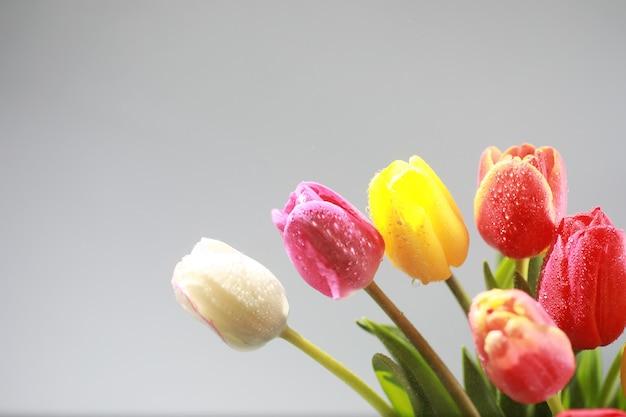Strauß frischer blumen. weihnachtsgeschenk für ihren liebsten. hintergrund valentinstag. rose, tulpe, iris-blumenarrangement.