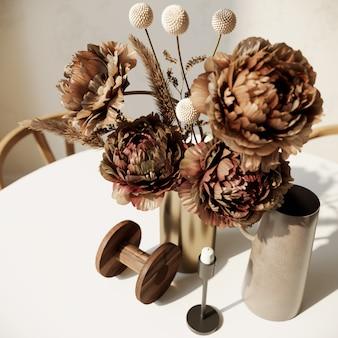 Strauß getrockneter blumen in einer vase auf dem tisch
