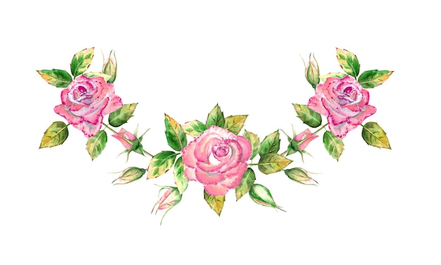 Strauß mit 3 rosa rosenblüten, grünen blättern, offenen und geschlossenen blüten