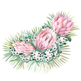 Strauß mit proteablüten, tropischen blättern, palmblättern, bouvardienblüten