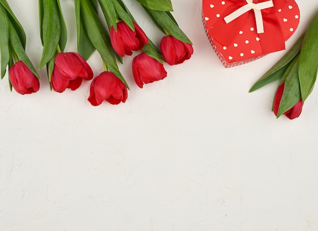 Strauß rot blühender tulpen mit grünen blättern, geschenk gebunden mit einem seidenroten band