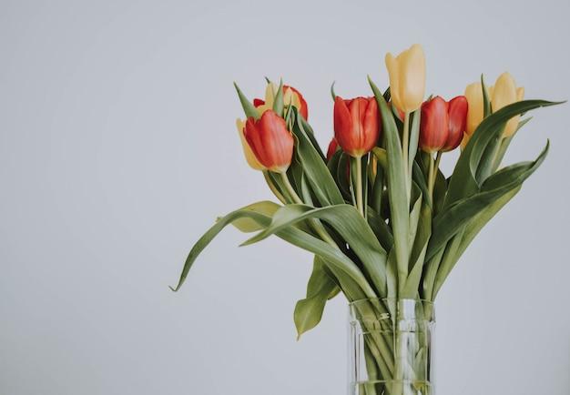 Strauß roter und gelber rosen auf einem weißen