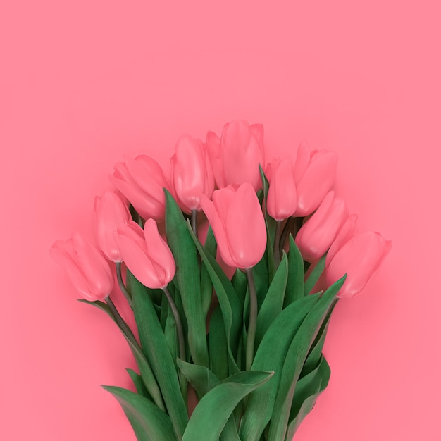Strauß tulpen auf weichem rosa hintergrund.
