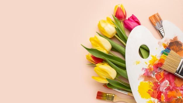Strauß tulpen mit kopierraum
