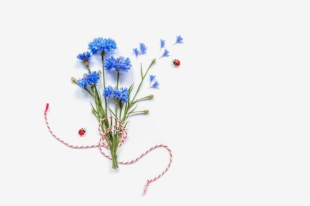 Strauß zarter kornblumen auf weiß mit rotem und weißem seil.