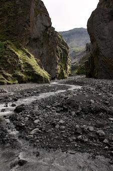 Stream an der unterseite einer revine in island