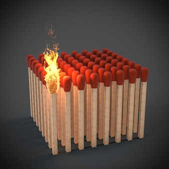 Streichhölzer kurz davor, feuer zu fangen. konzept der drohenden gefahr. 3d-rendering